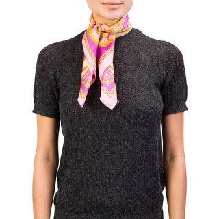 Versace Women's Baroque Pattern Silk Scarf Pink - no size