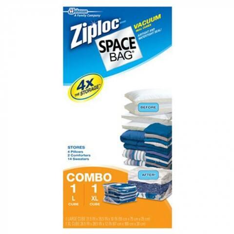 Ziploc 86112 Cube Vacuum Seal Storage Bags, 2-Piece