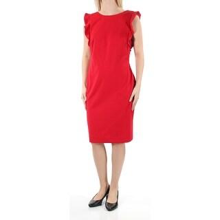 Womens Red Cap Sleeve Below The Knee Dress Size: 6