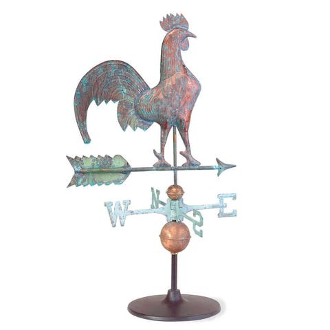Weathervane Verdigris Copper Rooster on Garden Base Renovator's Supply