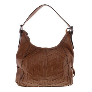 French Connection Womens Andy Quilted Suede Trim Hobo Handbag - Large