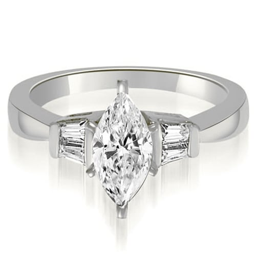 0.70 cttw. 14K White Gold Marquise And Baguette 3-Stone Diamond Engagement Ring