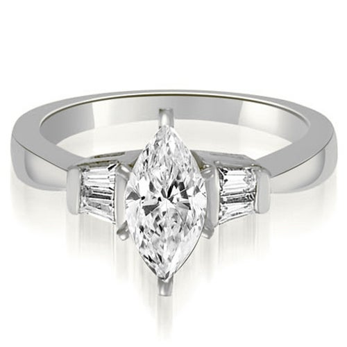 1.20 cttw. 14K White Gold Marquise And Baguette 3-Stone Diamond Engagement Ring