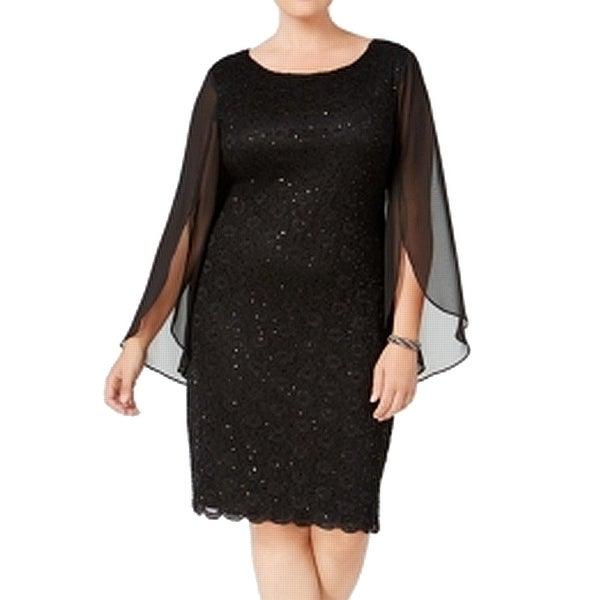 e04c5720922 Shop Connected Apparel Black Womens Size 18W Plus Sequin Sheath ...