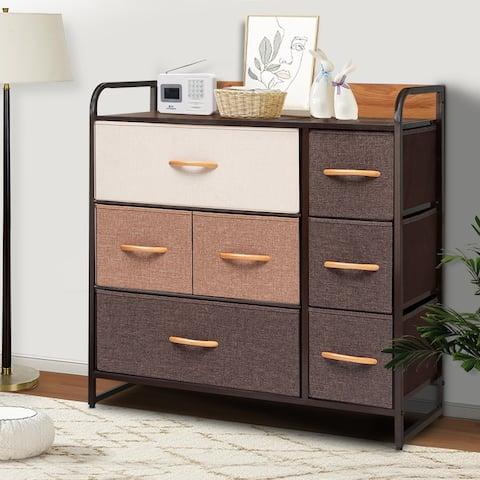 VredHom Wide 7 Drawers Fabric Dresser Storage Organizer