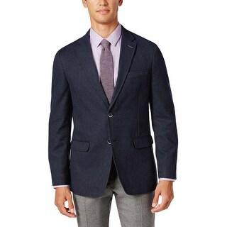 Tommy Hilfiger Gene Navy Blue Textured Cotton Sportcoat 44 Long 44L