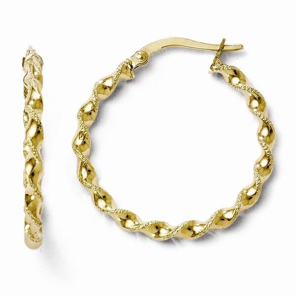 Italian 10k Gold Polished Twisted Hinged Hoop Earrings