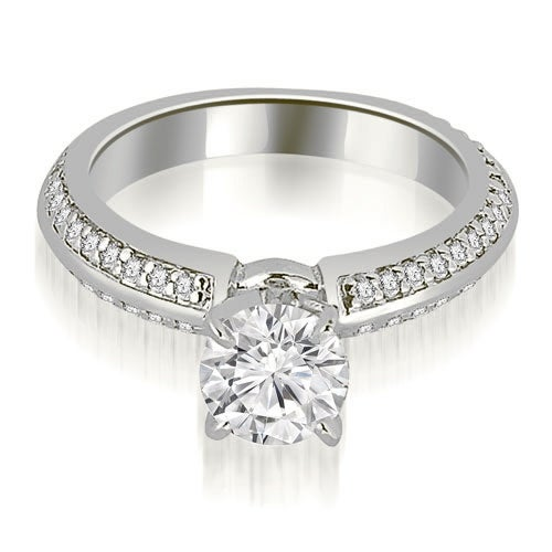 1.05 cttw. 14K White Gold Knife Edge Round Cut Diamond Engagement Ring