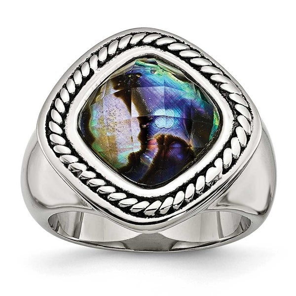 Chisel Stainless Steel Antiqued and Polished Synthetic Abalone Ring