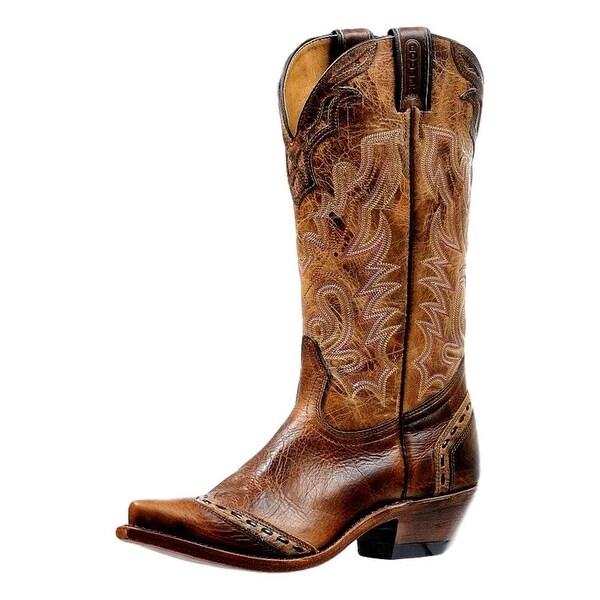 Boulet Western Boots Womens Pull Straps Cowboy Heel Damiana Moka