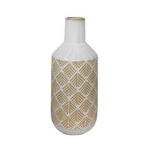 "Ceramic 13""H Tribal Look Vase,Beige"