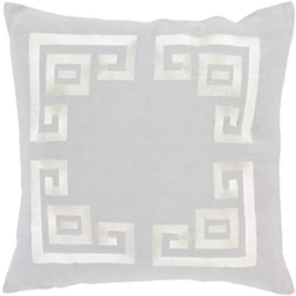 "22"" Cool Gray and Lace Beige Contemporary Woven Decorative Throw Pillow – Down Filler"