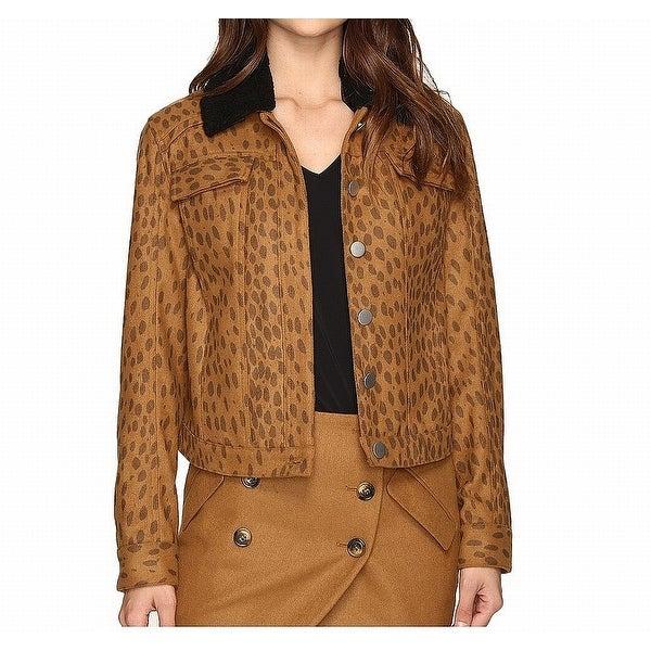 LAVEER Brown Womens Size Medium M Wooly Collar Weekend Jacket