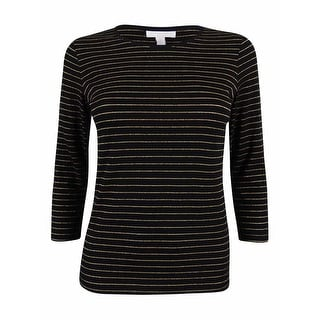 Link to Charter Club Women's Metallic Striped 3/4 Sleeve Top - Deep Black Combo - PXS Similar Items in Tops