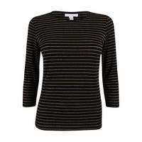 Charter Club Women's Metallic Striped 3/4 Sleeve Top - deep black combo - pxs