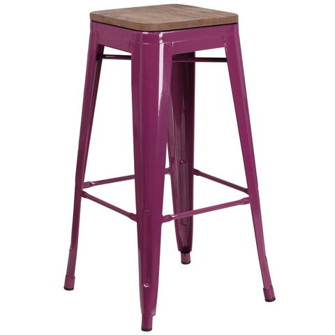 """30"""" High Backless Barstool with Square Wood Seat - Patio Chair"""