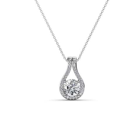 TriJewels Lab Grown Diamond Accent 3/8 ctw Pendant Necklace 14K Gold
