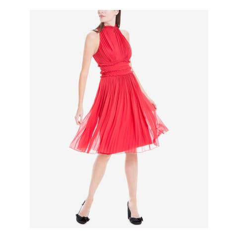 MAX STUDIO Red Sleeveless Above The Knee Fit + Flare Dress Size S