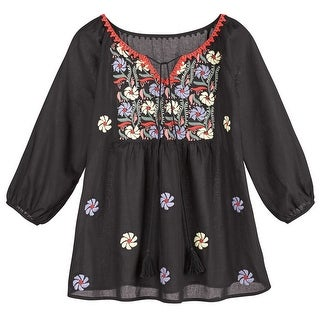 Women's Tunic Top - Embroidered Wedding Peasant Blouse - Black