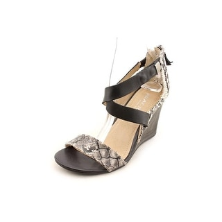 Kenneth Cole Reaction Oh Ava Women Open Toe Leather Gray Wedge Heel