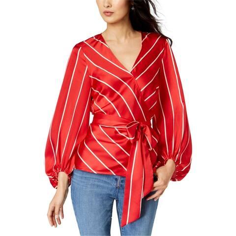 I-N-C Womens Stripe Shop Wrap Blouse