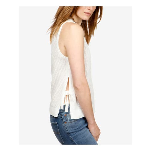 LUCKY BRAND Womens Ivory Side Tie Sleeveless Crew Neck Sweater Size: XL