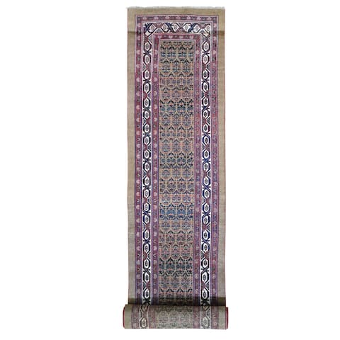 Hand Knotted Brown Antique with Wool Oriental Rug (3' x 18') - 3' x 18'