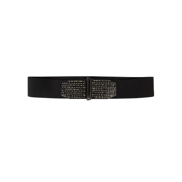 Style & Co. Women's Beaded Faux Leather Elastic Cinch Belt - Black