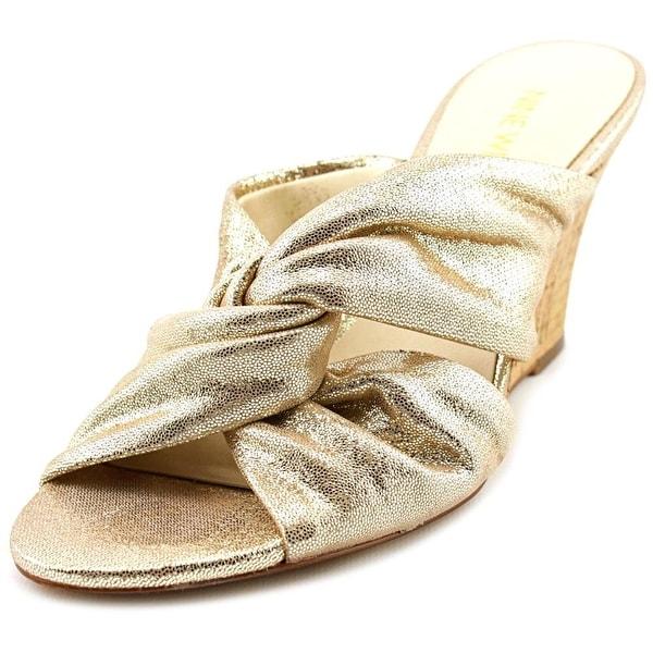 Nine West Kessie Women  Open Toe Leather Gold Wedge Sandal