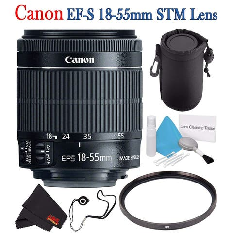 Canon EF-S 18-55mm f/3.5-5.6 IS STM Lens 8114B002 + 58mm UV Filter + Lens Cap Keeper + Deluxe 3pc Lens Cleaning Kit Bundle