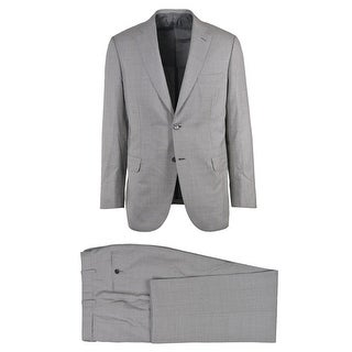 Brioni Mens Two Button Grey Silk Checkered Brunico Suit - 40 r