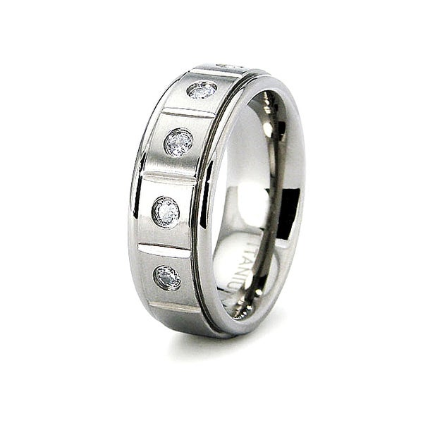 7mm Grooved Satin Finished Titanium Ring with 5 CZs (Sizes 6-8)