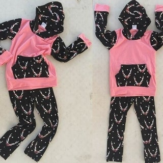 Coral Pink and Black Hoodie Set For Girls Toddlers Babies Ages 6MO - 7Years