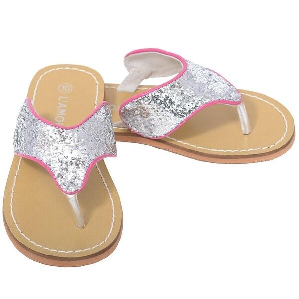 f0c65200533dce L  x27 Amour Silver T Strap Flip Flop Summer Spring Sandal Toddler Girl 7