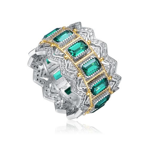 Collette Z Rhodium and 14K Gold Plated Cubic Zirconia Coctail Ring