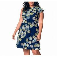 leota Blue Women's Size Small S One Ruffle Shoulder Sheath Dress
