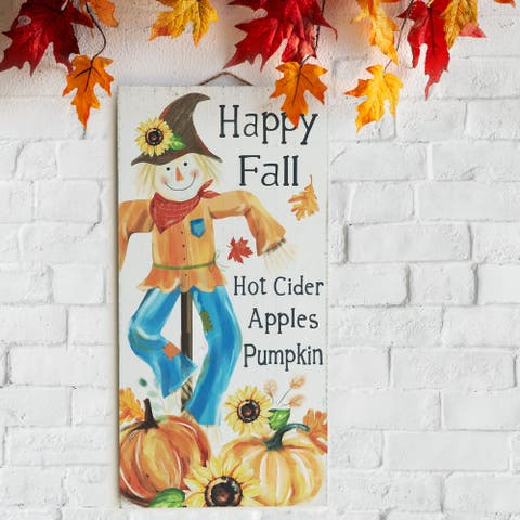Glitzhome Fall Wooden Scarecrow Hanging Decor