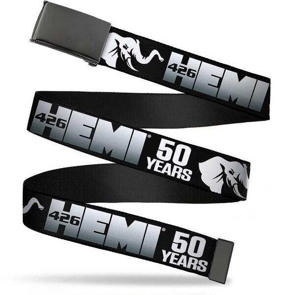 """Blank Black 1.25"""" Buckle Hemi 426 Elephant Logo 50 Years Black White Silver Web Belt 1.25"""" Wide - M"""
