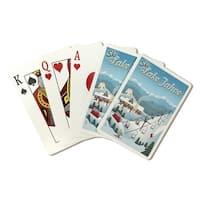 Lake Tahoe, CA - Retro Ski Resort - LP Artwork (Poker Playing Cards Deck)