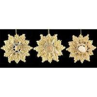 Set of 3 Glitter Seashell Snowflake Christmas Ornaments