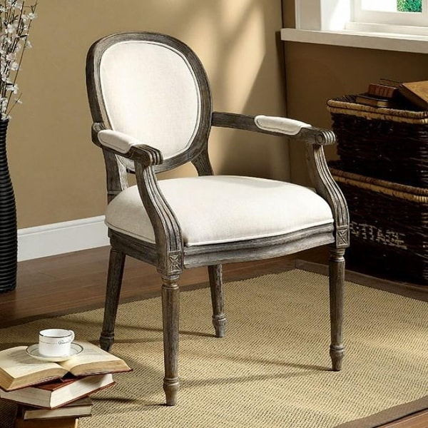 Direct Express Zossen Ivory Accent Chair: Shop Conway Ivory Linen With Gray Finish Accent Chair