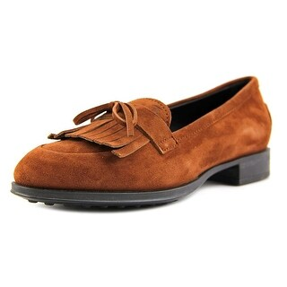 Tod's Mocassino Gomma Frangia Women Round Toe Suede Brown Loafer