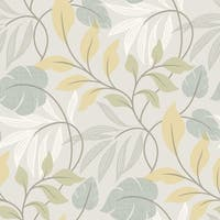 Brewster 2535-20628 Eden Blue Modern Leaf Trail Wallpaper - N/A