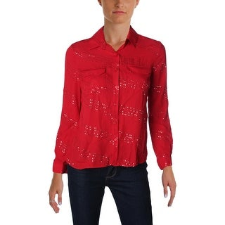 NY Collection Womens Petites Button-Down Top Sequined Pocket - pxs