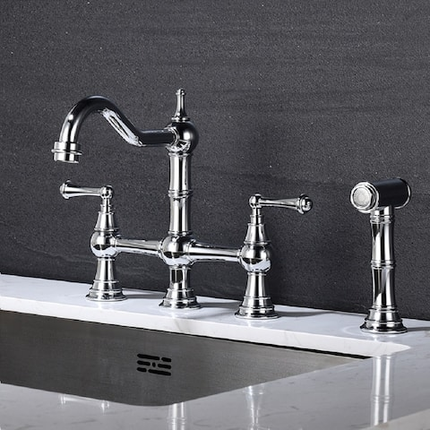 Traditional 4 Hole 2 Handle Classic Bridge Kitchen Faucet w/Side Spray