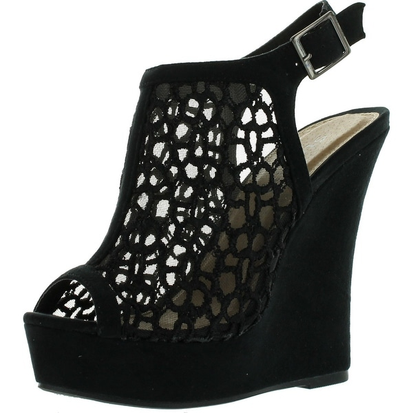 Styluxe Twin-38 Womens High Platform Fabric Nets Cut Outs Wedge - Black - 8 b(m) us