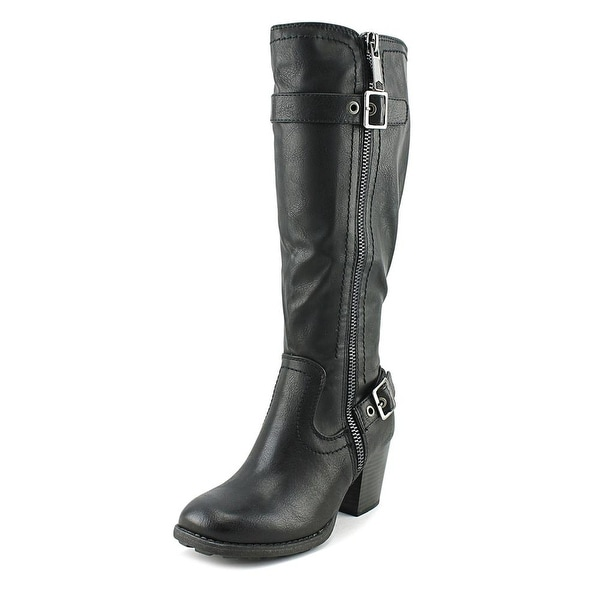 White Mountain Dover Wide Calf Women Round Toe Synthetic Black Knee High Boot