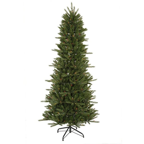 9.5' Pre-Lit Slim Vermont Fir Instant Shape Artificial Christmas Tree - Multi - green