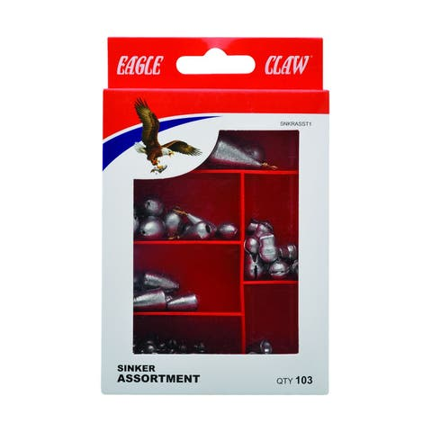 Eagle Claw 0848-6248 Assorted Size & Weight Sinker, 55 Piece