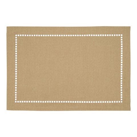 Table Placemats With Laser-Cut Hemstitch Design (Set of 4)